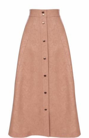 Кожаная юбка-миди с широким поясом Vika Gazinskaya. Цвет: розовый
