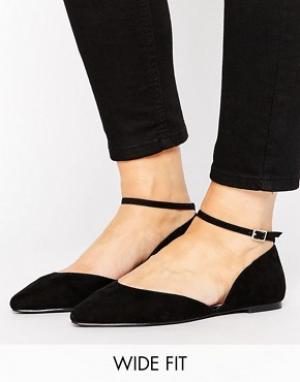 Faith Wide Fit Туфли на плоской подошве для широкой стопы с ремешком вокруг щиколотки. Цвет: черный