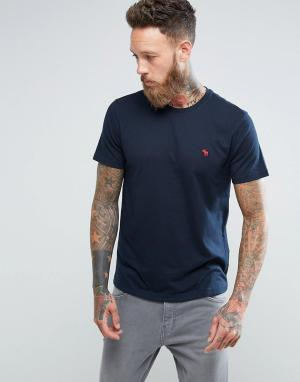 Abercrombie & Fitch Темно-синяя футболка слим с круглым вырезом и логотипом. Цвет: темно-синий