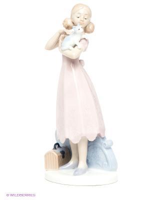 Статуэтка Девушка с котенком Pavone. Цвет: бледно-розовый, светло-голубой