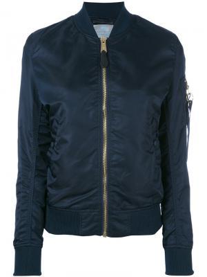 Куртка-бомбер с карманом на рукаве Alpha Industries. Цвет: синий