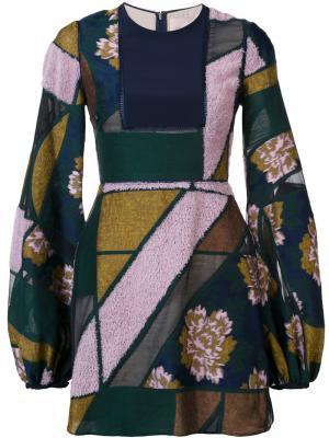 Платье в стиле пэчворк Roksanda. Цвет: синий