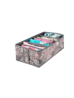 Кофр для нижнего белья и маек на 6 ячеек 35х16х10см. Серебро COFRET. Цвет: серый, розовый, белый