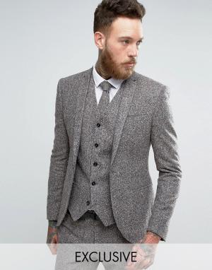 Noak Супероблегающий шерстяной пиджак в крапинку. Цвет: серый
