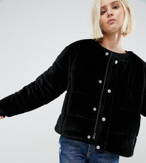 Puffa Бархатная дутая оversize-куртка без воротника. Цвет: черный