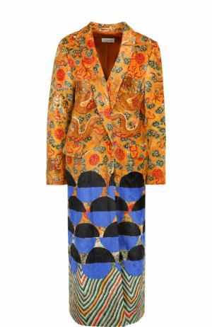 Бархатное пальто свободного кроя с принтом Dries Van Noten. Цвет: разноцветный