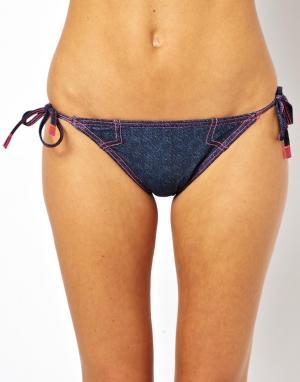 Бикини-плавки с завязками по бокам TYR  Denim Boy Huntington Beach. Цвет: синий
