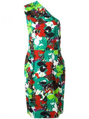 Приталенное платье на одно плечо Guy Laroche Vintage. Цвет: многоцветный