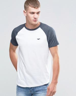 Hollister Белая футболка слим с контрастными рукавами реглан. Цвет: белый