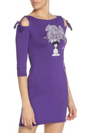 Платье миди с завязками на плечах Grishko. Цвет: темно-сиреневый