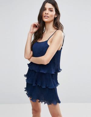 Jasmine Ярусное плиссированное платье. Цвет: темно-синий