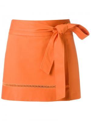 Tie fastening skorts Giuliana Romanno. Цвет: жёлтый и оранжевый