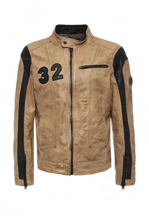 Куртка кожаная Mustang. Цвет: бежевый