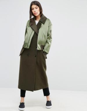 ASOS Пальто с отделкой в стиле куртки-пилот. Цвет: мульти