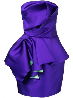 Коктейльное платье без бретелей с баской Isabel Sanchis. Цвет: розовый и фиолетовый