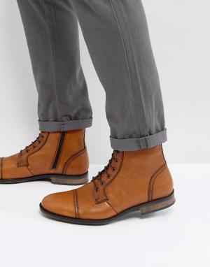 Dead Vintage Светло-коричневые кожаные ботинки на шнуровке. Цвет: рыжий