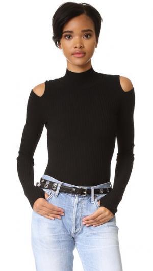 Пуловер с открытыми плечами LIVE THE PROCESS. Цвет: голубой