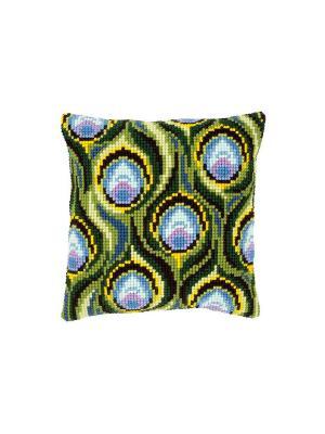 Набор для вышивания лицевой стороны наволочки Павлиньи перья 40*40см Vervaco. Цвет: голубой, желтый, зеленый, черный
