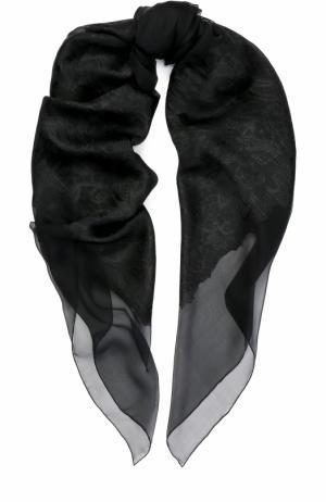 Платок из шелка и вискозы с вышивкой Elie Saab. Цвет: черный
