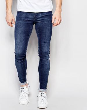 Dr Denim Супероблегающие осветленные джинсы Kissy 2nd Hand. Цвет: синий
