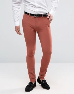 ASOS Коралловые брюки скинни. Цвет: рыжий