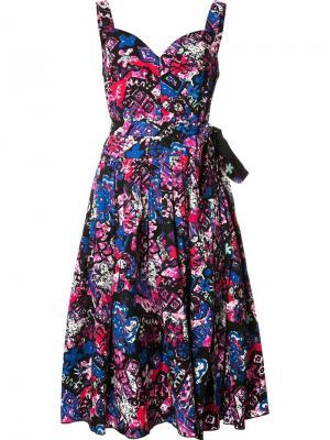 Плиссированное платье с цветочным принтом Marc Jacobs. Цвет: чёрный