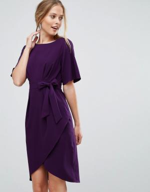 Closet London Платье-футляр с запахом и поясом оби. Цвет: мульти