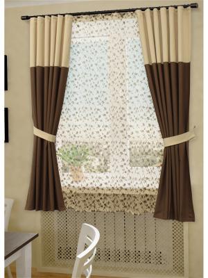 Комплект штор с тюлем Деметра SANPA HOME COLLECTION. Цвет: бежевый,коричневый