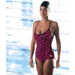 Купальник цельный, модная модель ARENA. Цвет: рисунок/розовый/черный