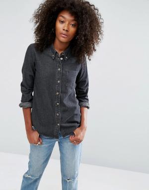 ASOS Черная джинсовая рубашка с выбеленным эффектом DESIGN. Цвет: черный
