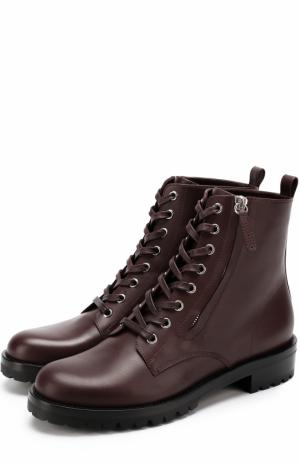 Кожаные ботинки на шнуровке Gianvito Rossi. Цвет: бордовый
