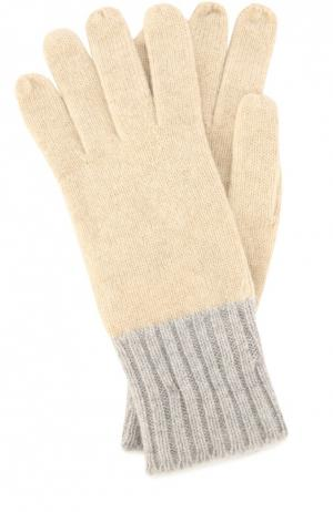 Кашемировые перчатки с контрастными манжетами Colombo. Цвет: бежевый