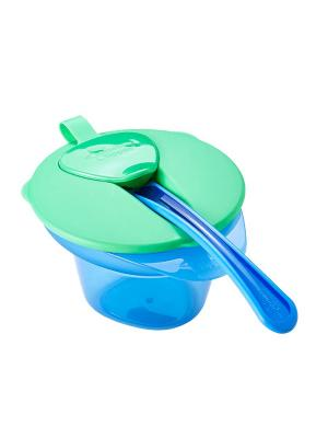 Тарелочка с отделением для охлаждения и разминания пищи крышкой ложечкой. TOMMEE TIPPEE. Цвет: синий, салатовый