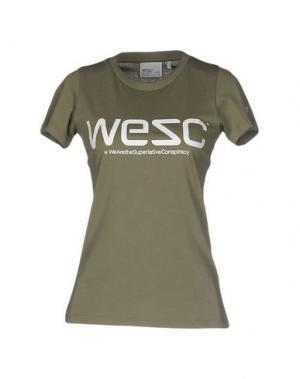 Футболка WESC. Цвет: зеленый-милитари