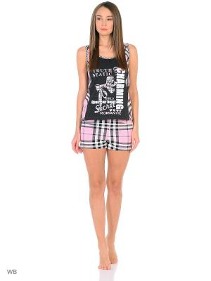 Пижама-майка, шорты NAGOTEX. Цвет: черный, розовый