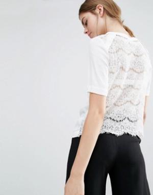 Suncoo Шелковая футболка с кружевной спинкой. Цвет: белый