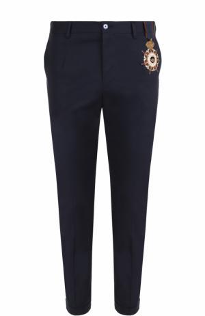 Хлопковые брюки прямого кроя с контрастной вышивкой Dolce & Gabbana. Цвет: синий