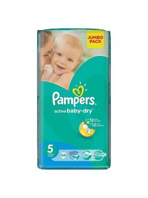Подгузники Active Baby-Dry 11-18 кг, 5 размер, 58 шт. Pampers. Цвет: зеленый