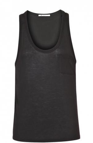 Топ свободного кроя без рукавов и накладным карманом T by Alexander Wang. Цвет: черный