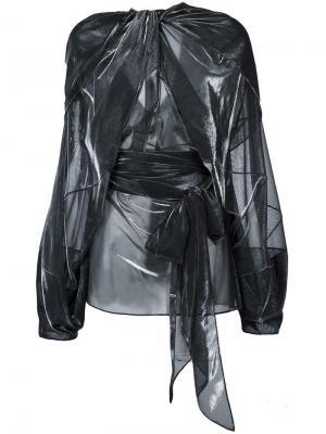 Прозрачная драпированная блузка Maison Margiela. Цвет: металлический