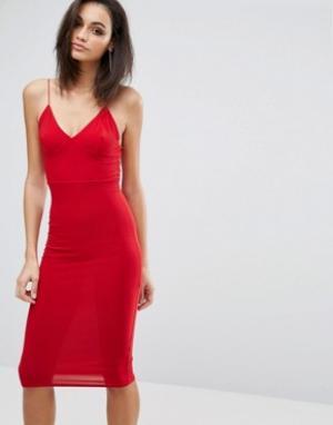Club L Платье-миди с бретельками. Цвет: красный