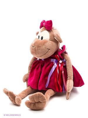 Обезьянка Лерка в платье, 25 см MAXITOYS. Цвет: красный, темно-бордовый, темно-красный