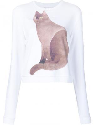Толстовка с принтом кота Arthur Arbesser. Цвет: белый