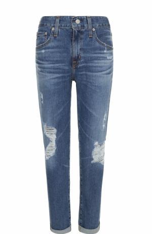 Укороченные джинсы с отворотами и потертостями Ag. Цвет: синий