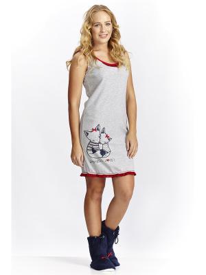 Ночная сорочка RELAX MODE. Цвет: серый меланж