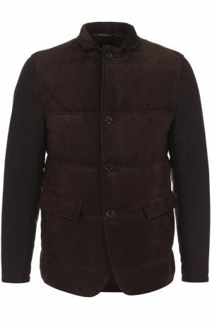 Утепленная кожаная куртка на пуговицах BOSS. Цвет: темно-коричневый