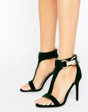 Forever Unique Сандалии на каблуке с Т-образным ремешком Marchella. Цвет: зеленый
