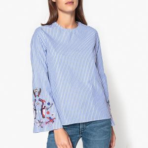 Блузка с вышивкой на рукавах PARADISE ESSENTIEL ANTWERP. Цвет: белый/ синий