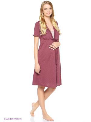 Комплект для беременных и кормящих (халат-пеньюар + сорочка) Hunny Mammy. Цвет: коричневый, бежевый