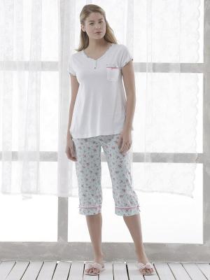 Пижама с капри RELAX MODE. Цвет: бледно-розовый